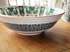 LARGE ANTIQUE BOWL BROWNFIELD DATE STAMP 1880 GREEN HANDPAINTED DESIGN  5866